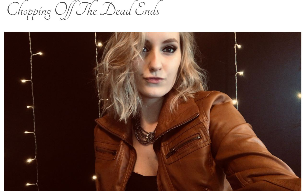 "Screen grab of blog title page: ""Chopping Off The Dead Ends"" with a photo of a blonde girl with a short, shoulder length haircut."