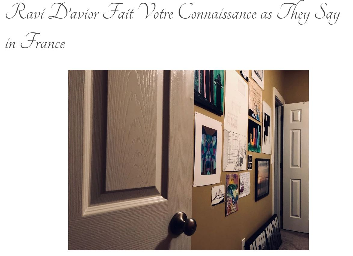 "Screen grab of blog title page: ""Ravi D'avior Fait Votre Connaissance as They Say in France"" with photo looking in to a bedroom with various photos and artwork pieces lining the wall."