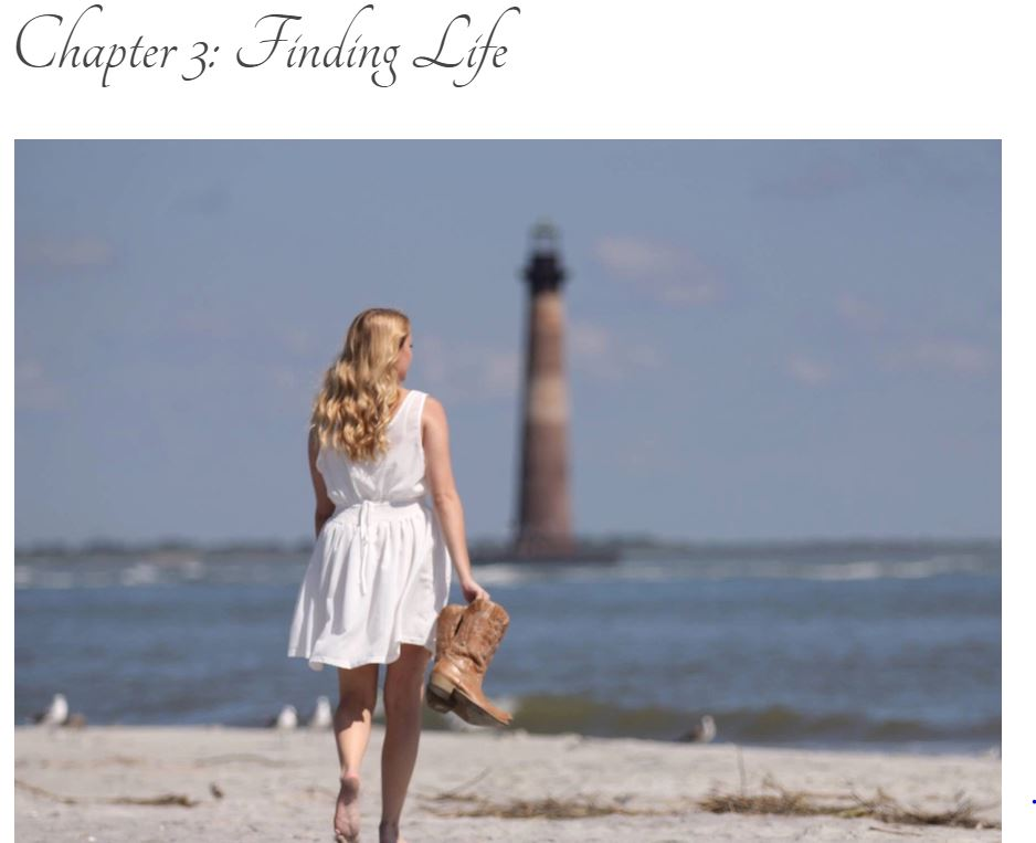 "Screen grab of blog title page: ""Chapter 3: Finding Life"" with photo of blonde girl in a white dress carrying cowboy boots walking along the beach with a red and white lighthouse off in the distance."