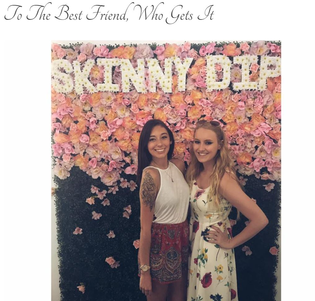 "Screen grab of blog title page: ""To the Best Friend, Who Gets It"" with a photo of blonde and brunette dressed in spring clothing standing in front of a floral backdrop at Skinny Dip Coffee and Wine Bar."