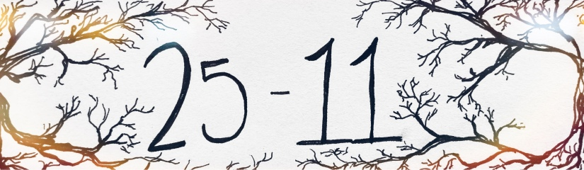 "Title slide ""25-11"" with spooky branches as border"