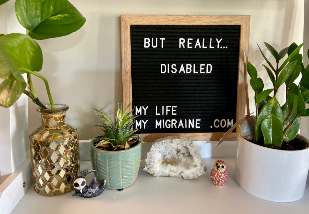 "Black felt board spelling out ""but really... disabled"" on a shelf full of various small houseplants and geodes."