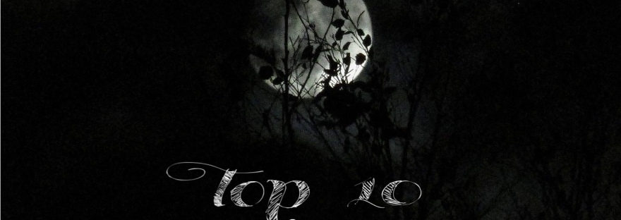 "Spooky photo of the moon with caption ""Top 10 Horror Movies of the Decade"""