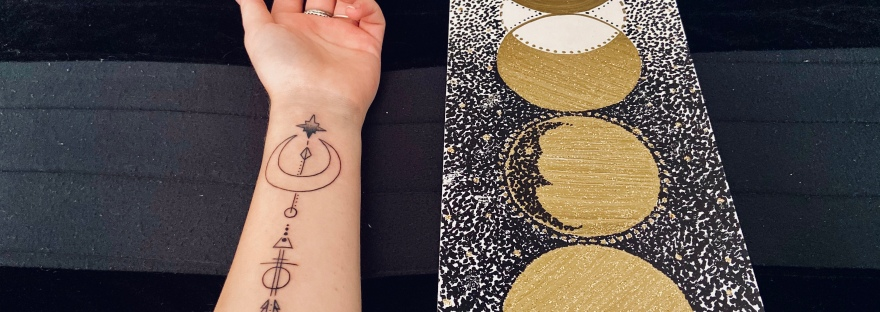 side by side of new tattoo - crescent moon with an arrow - and my moon phases painting