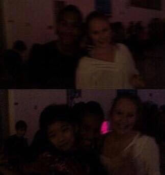 very dark photo collage of three friends, one in a white shirt at a middle school dance