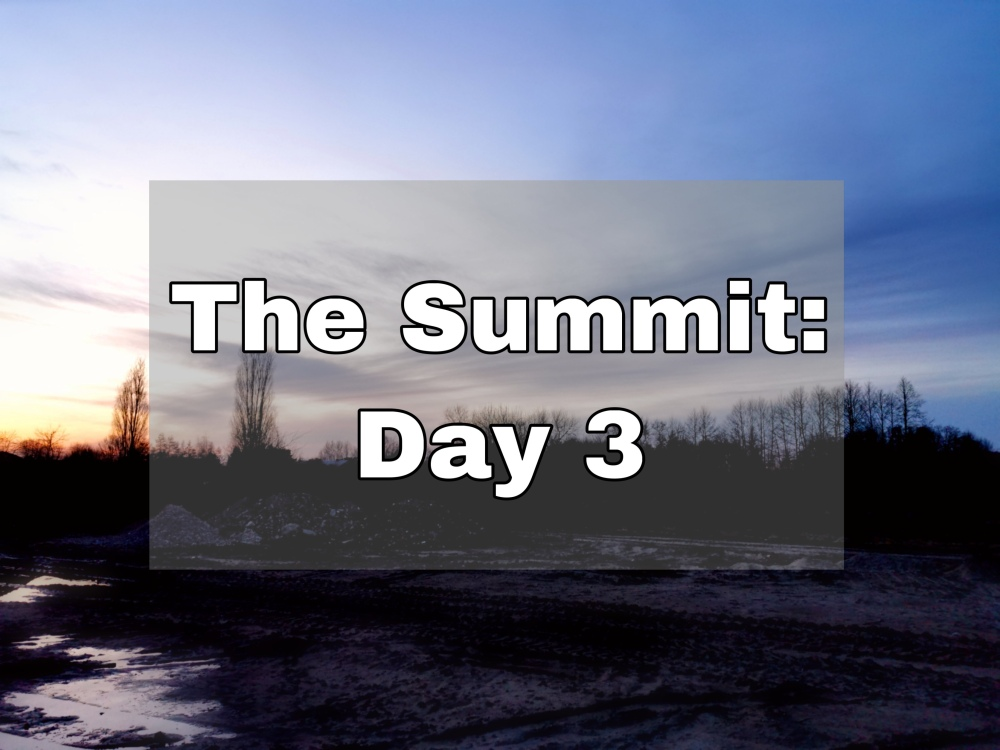 """Sunset over a darken treeline text says """"The Summit: Day 3"""""""