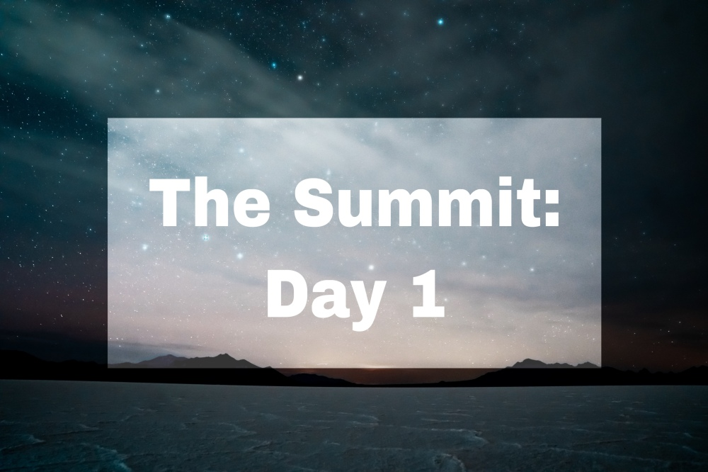"Starry night over water, lightened area has text ""The Summit: Day 1"""