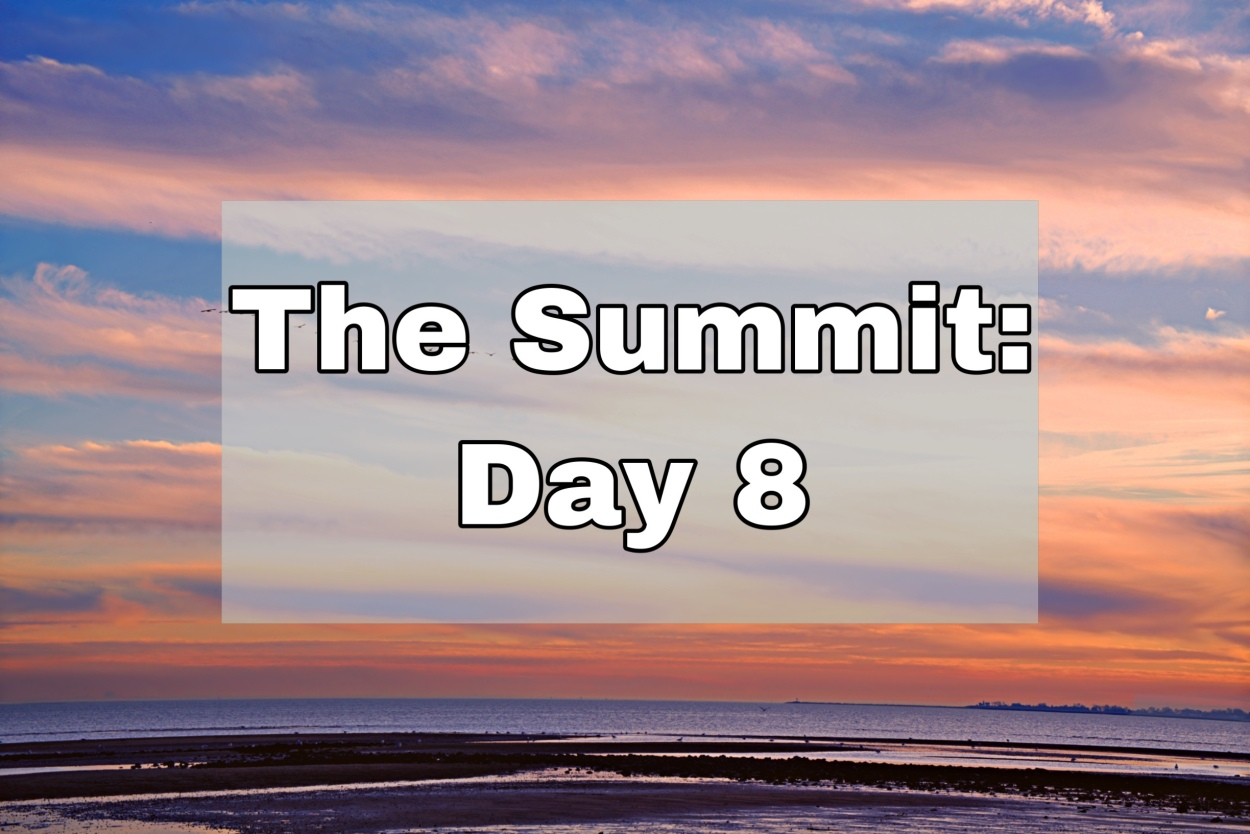 """Rich orange and pink sunset over a beach type landscape. Text says """"The Summit: Day 8"""""""