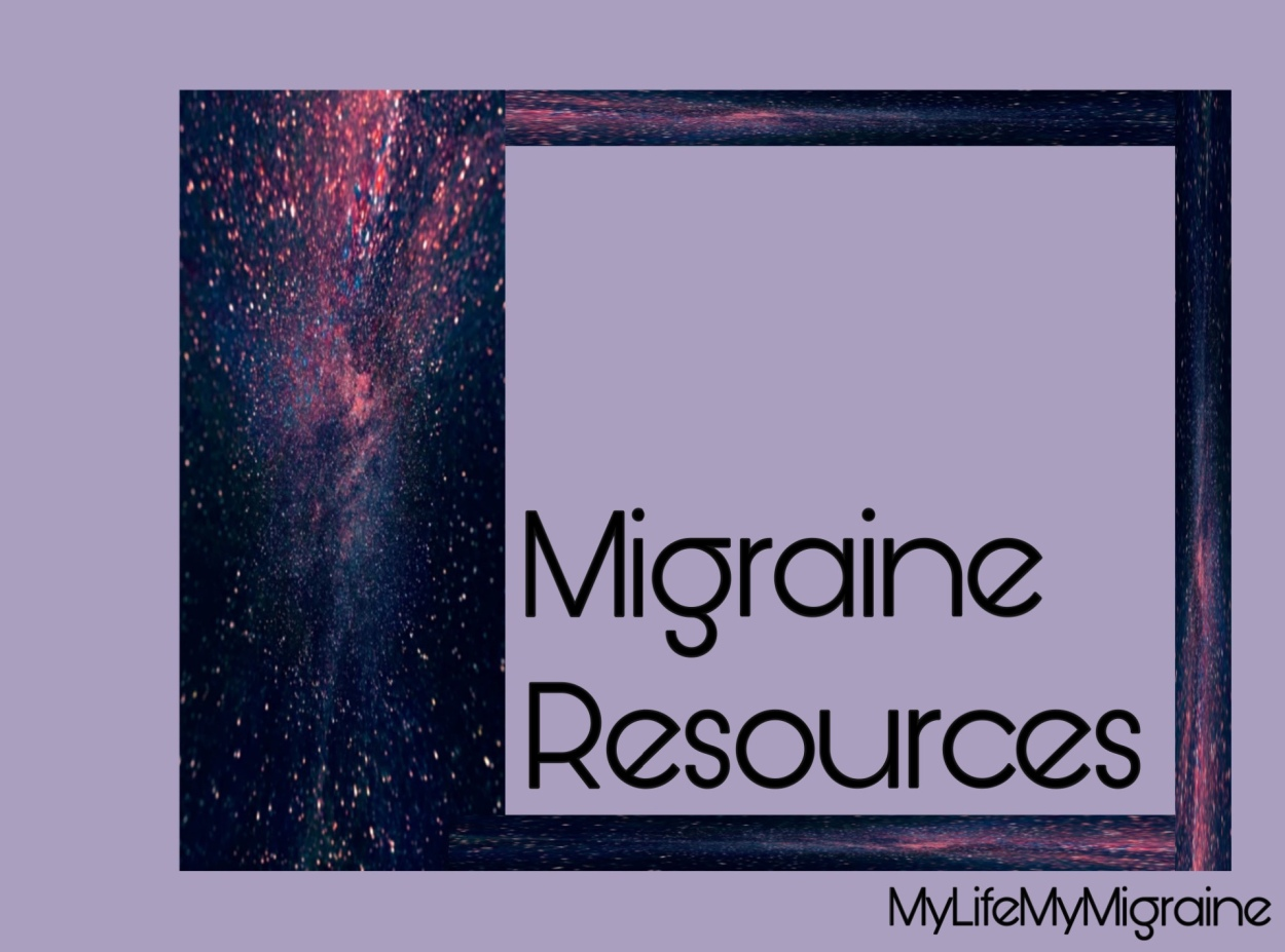 "Purple background with framed text ""migraine resources"""