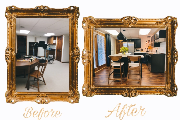 Kitchen before and after done in gold frames