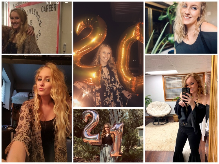 A collage of 6 photos of me going back 6 years of me on my birthday
